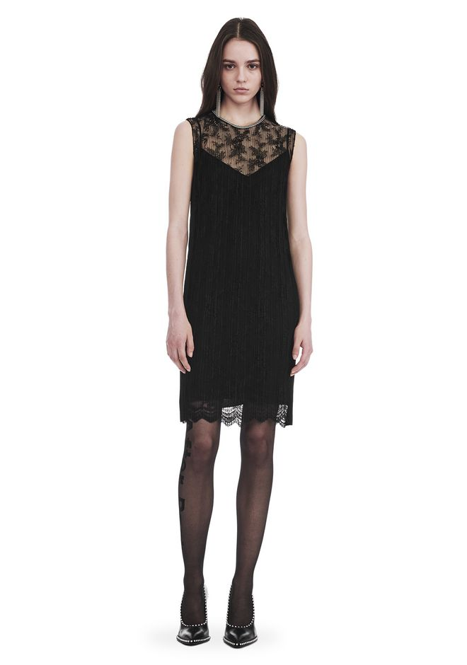 ALEXANDER WANG slrtwdr PLEATED LACE SLEEVELESS DRESS WITH CHAIN TRIM