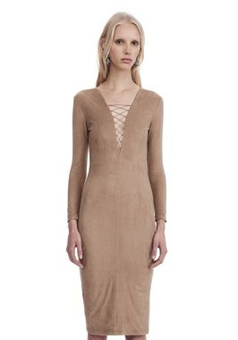 STRETCH FAUX SUEDE LONG SLEEVE LACE-UP MIDI DRESS