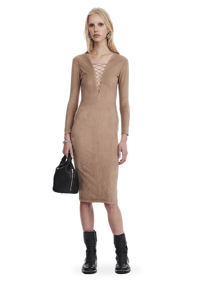 T by ALEXANDER WANG sltbdr STRETCH FAUX SUEDE LONG SLEEVE LACE-UP MIDI DRESS