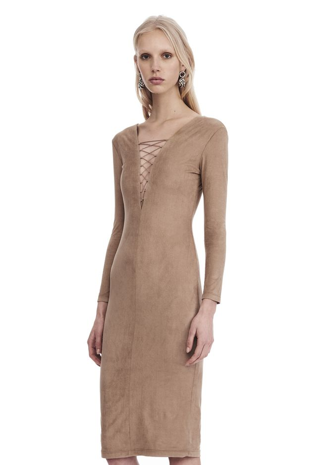 T by ALEXANDER WANG STRETCH FAUX SUEDE LONG SLEEVE LACE-UP MIDI DRESS 短款连衣裙 Adult 12_n_a