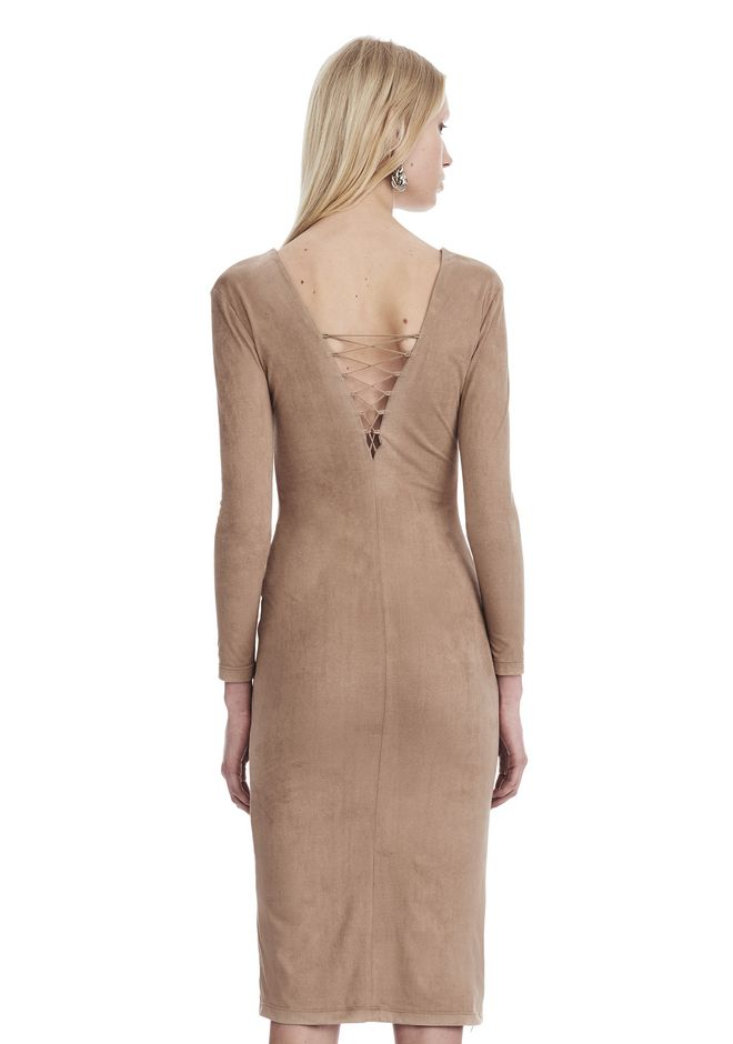 T by ALEXANDER WANG STRETCH FAUX SUEDE LONG SLEEVE LACE-UP MIDI DRESS 短款连衣裙 Adult 12_n_d