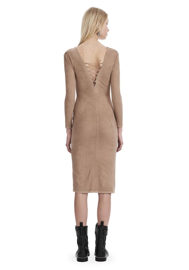 T by ALEXANDER WANG STRETCH FAUX SUEDE LONG SLEEVE LACE-UP MIDI DRESS 短款连衣裙 Adult 12_n_r