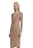 T by ALEXANDER WANG STRETCH FAUX SUEDE LONG SLEEVE LACE-UP MIDI DRESS 短款连衣裙 Adult 8_n_a