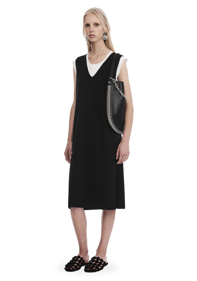T by ALEXANDER WANG sltbdr SLEEVELESS V-NECK DRESS