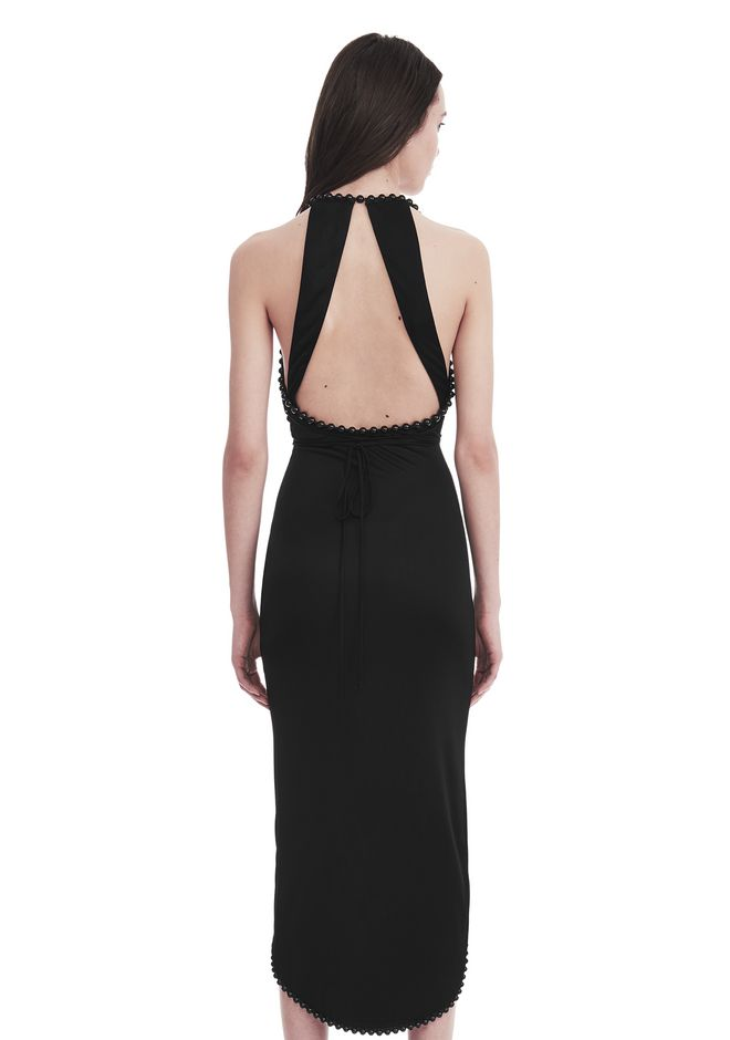 ALEXANDER WANG HALTER WRAP DRESS WITH BALL CHAIN Long dress Adult 12_n_d