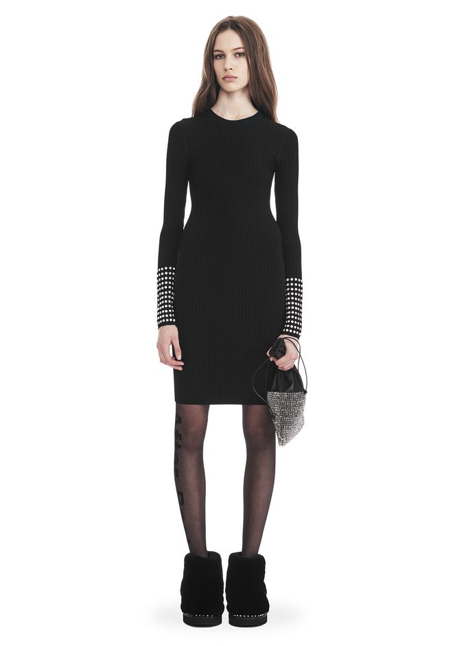 ALEXANDER WANG slrtwdr LONG SLEEVE DRESS WITH CRYSTAL CUFF TRIM