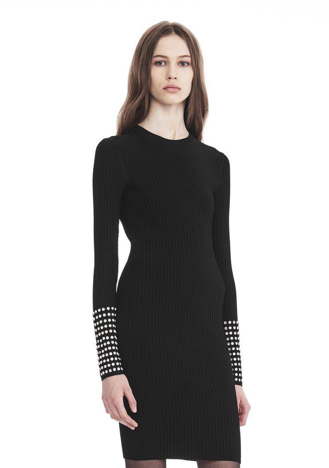 ALEXANDER WANG LONG SLEEVE DRESS WITH CRYSTAL CUFF TRIM 3/4 length dress Adult 12_n_a