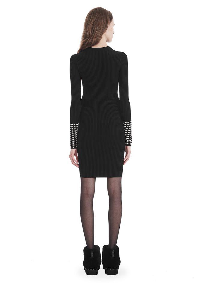 ALEXANDER WANG LONG SLEEVE DRESS WITH CRYSTAL CUFF TRIM 3/4 length dress Adult 12_n_r