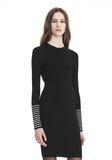 ALEXANDER WANG LONG SLEEVE DRESS WITH CRYSTAL CUFF TRIM 3/4 length dress Adult 8_n_a
