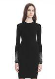 ALEXANDER WANG LONG SLEEVE DRESS WITH CRYSTAL CUFF TRIM 3/4 length dress Adult 8_n_e