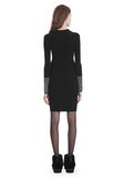 ALEXANDER WANG LONG SLEEVE DRESS WITH CRYSTAL CUFF TRIM 3/4 length dress Adult 8_n_r