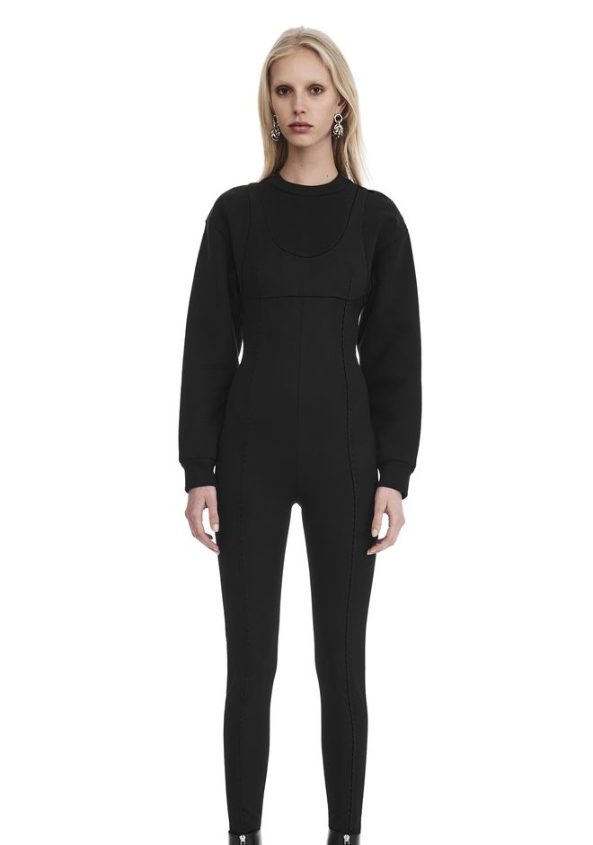 ALEXANDER WANG SCOOP NECK BODYSUIT WITH SWEATSHIRT UNDER LAYER Long dress  12_n_e