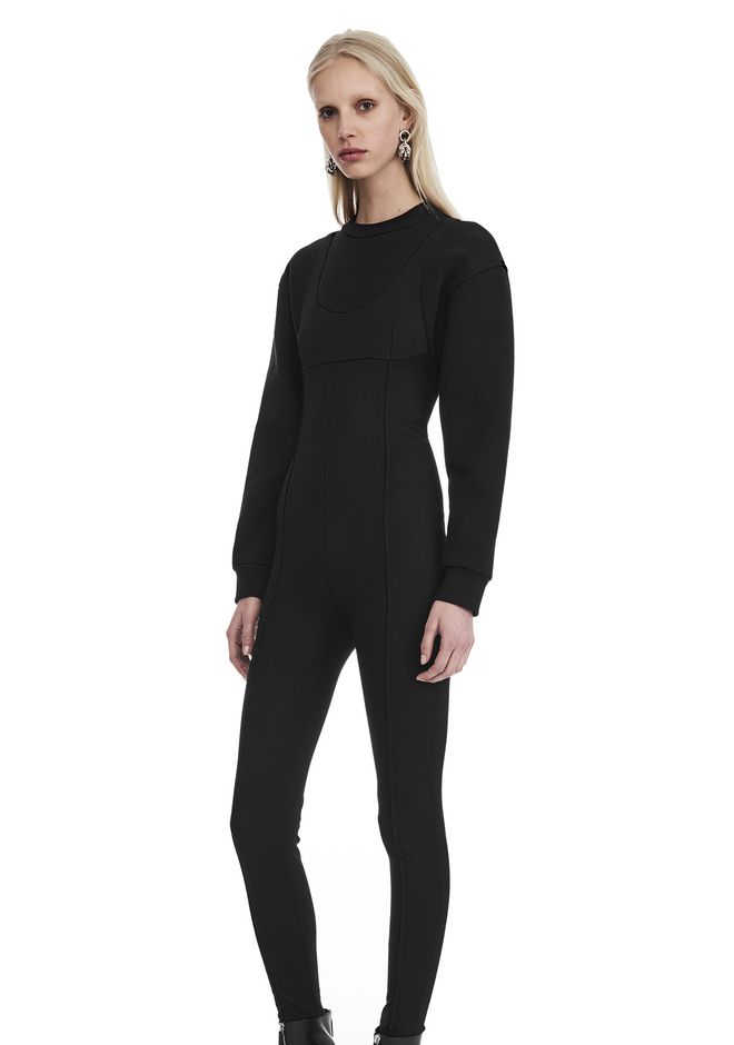 ALEXANDER WANG SCOOP NECK BODYSUIT WITH SWEATSHIRT UNDER LAYER Long dress  12_n_r