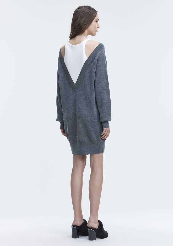 T by ALEXANDER WANG ROBES EN MAILLE Femme BI-LAYER KNIT DRESS