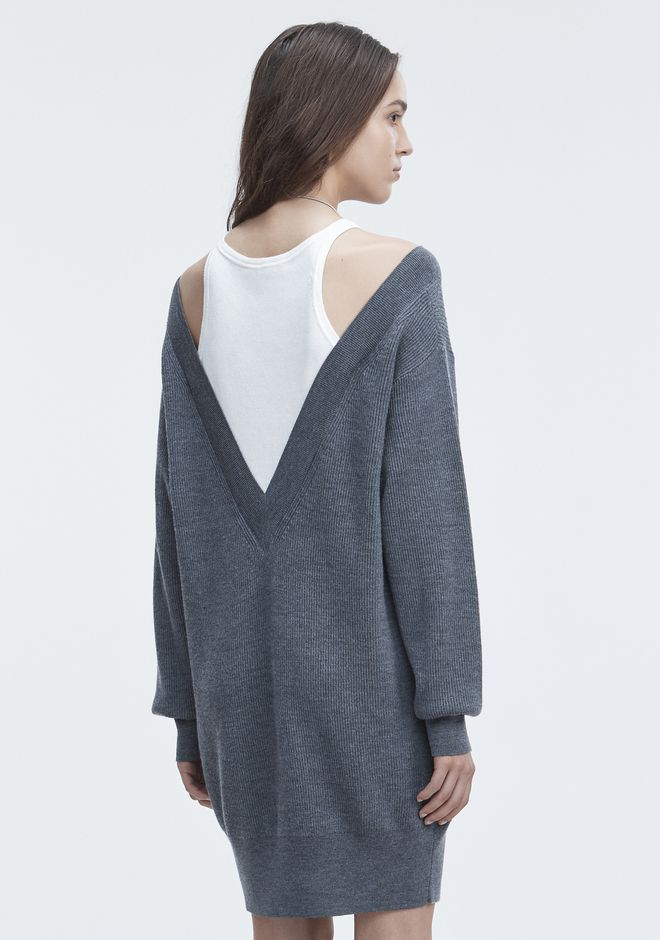 T by ALEXANDER WANG BI-LAYER KNIT DRESS KNIT DRESS Adult 12_n_d