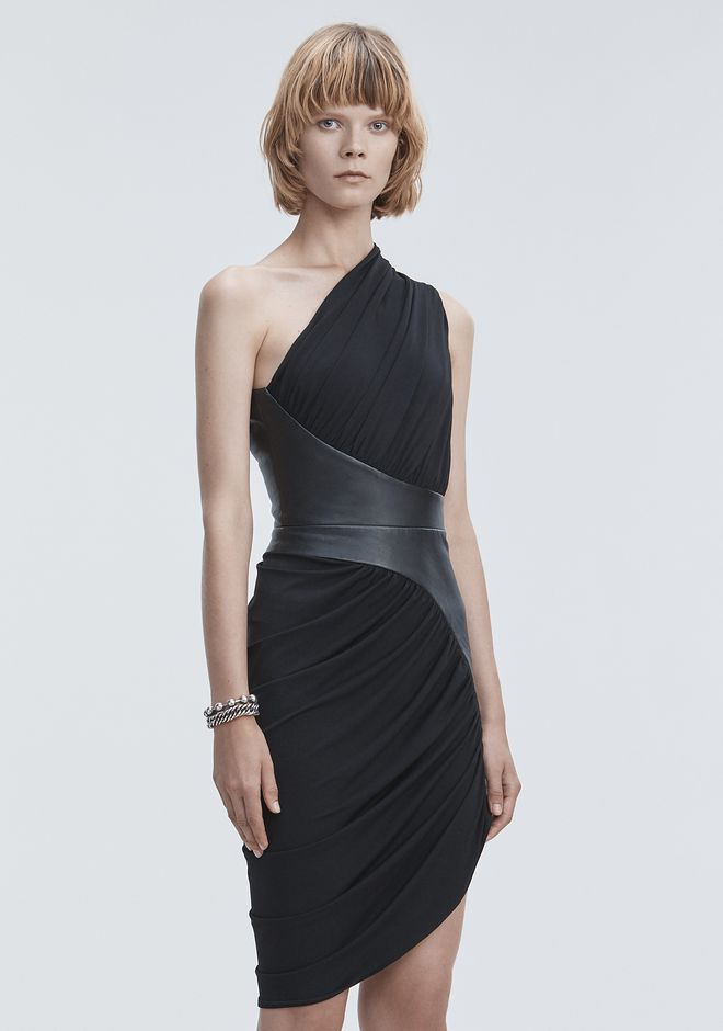 ALEXANDER WANG ASYMMETRIC DRAPED JERSEY DRESS 3/4 length dress Adult 12_n_a