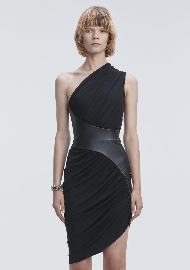 ALEXANDER WANG ASYMMETRIC DRAPED JERSEY DRESS 3/4 length dress Adult 12_n_d