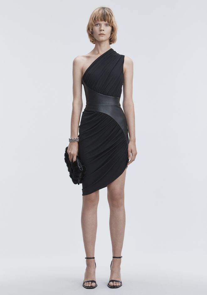 ALEXANDER WANG ASYMMETRIC DRAPED JERSEY DRESS 3/4 length dress Adult 12_n_f