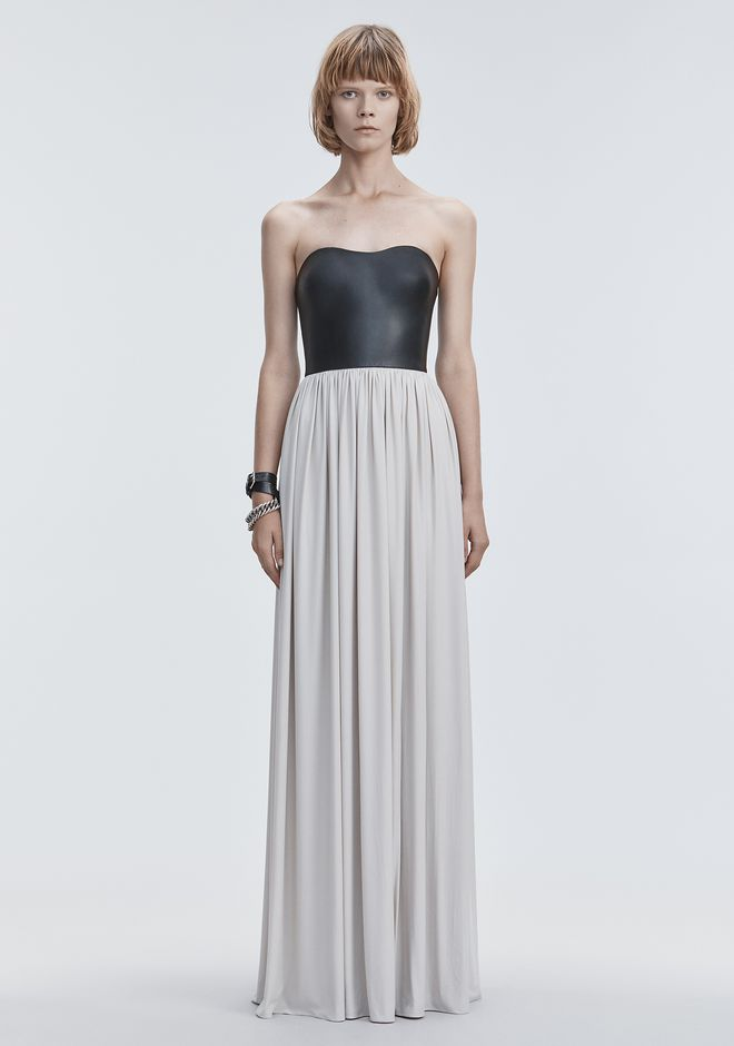 ALEXANDER WANG slrtwdr MOLDED LEATHER BUSTIER GOWN