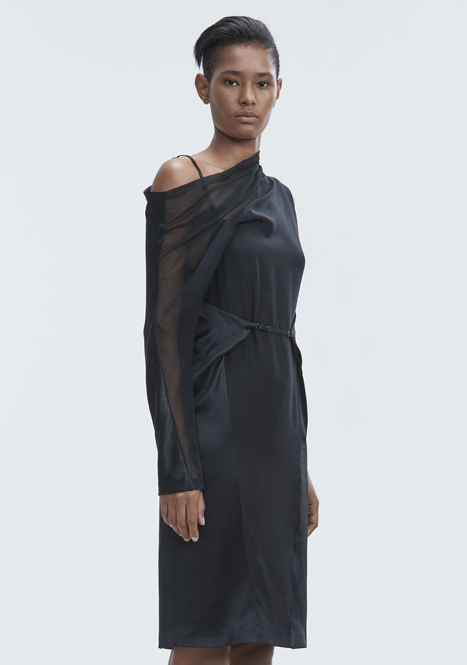 ALEXANDER WANG SILK DRAPED DRESS Langes Kleid Adult 12_n_a