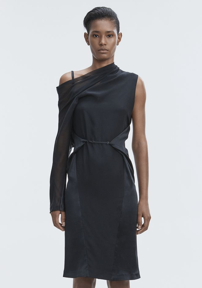 ALEXANDER WANG SILK DRAPED DRESS Langes Kleid Adult 12_n_d