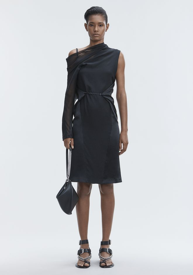 ALEXANDER WANG SILK DRAPED DRESS Langes Kleid Adult 12_n_f