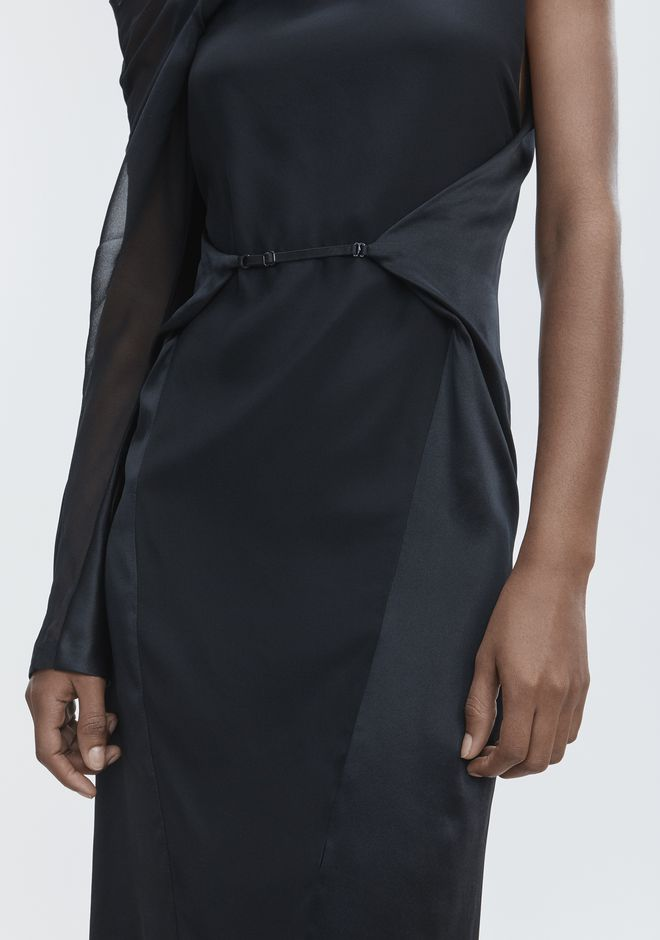 ALEXANDER WANG SILK DRAPED DRESS Langes Kleid Adult 12_n_r