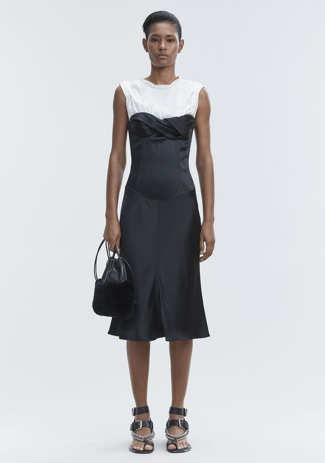 ALEXANDER WANG Long dresses Women SATIN TWISTED CUP DRESS