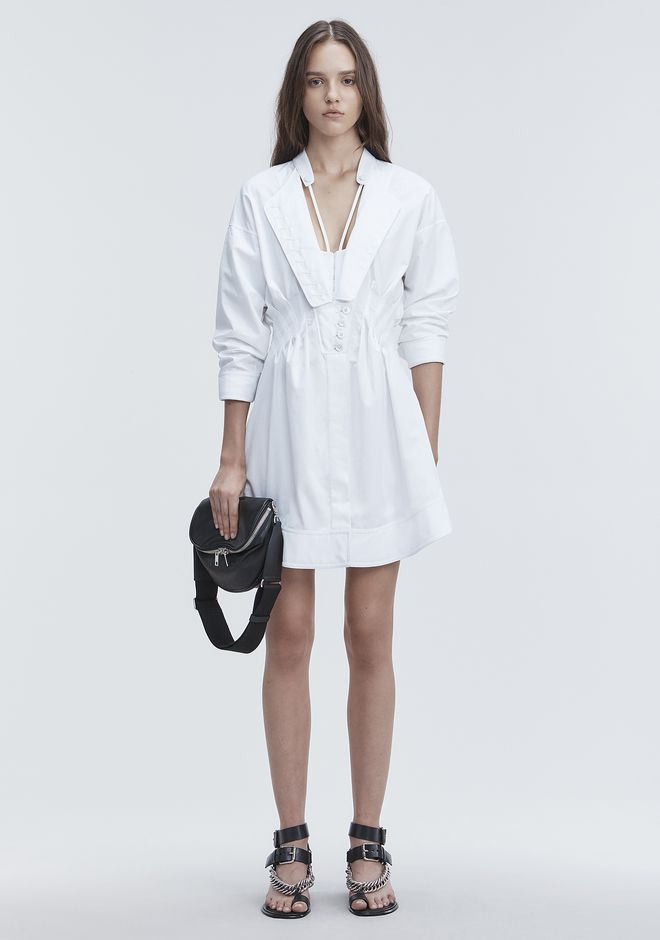 ALEXANDER WANG slrtwdr DECONSTRUCTED POPLIN DRESS