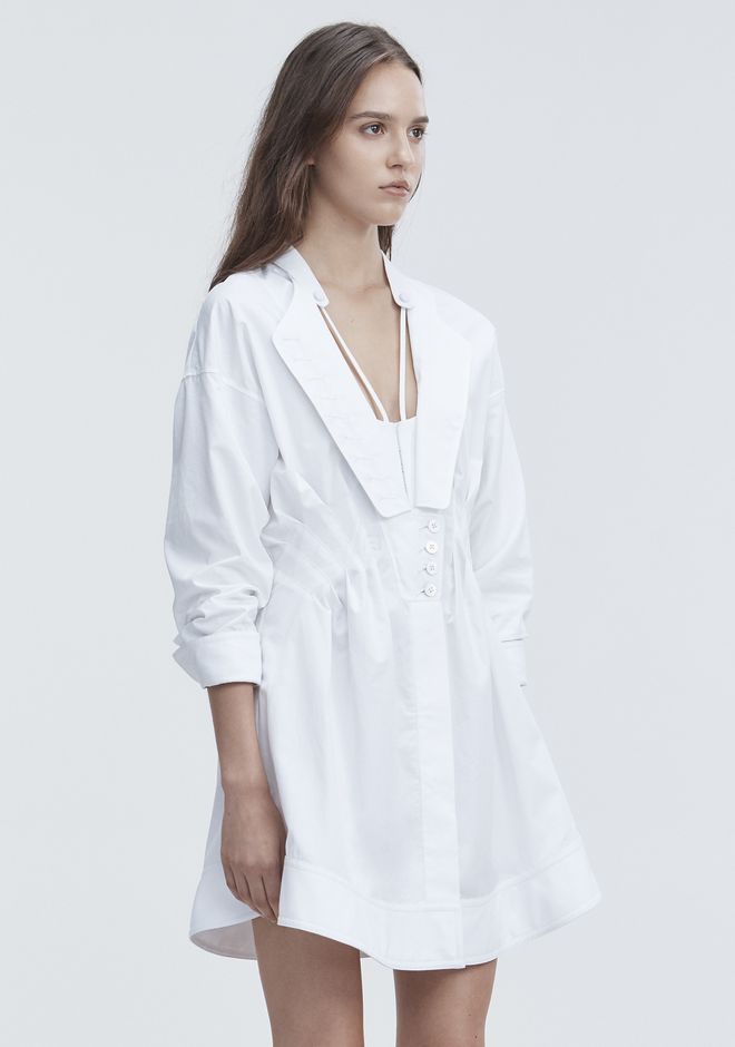 ALEXANDER WANG DECONSTRUCTED POPLIN DRESS Short Dress Adult 12_n_a
