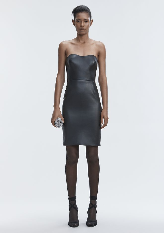 ALEXANDER WANG Long dresses Women LEATHER BUSTIER DRESS