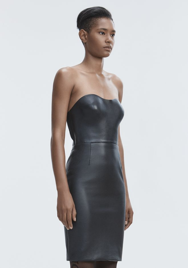 ALEXANDER WANG LEATHER BUSTIER DRESS Vestito lungo Adult 12_n_a