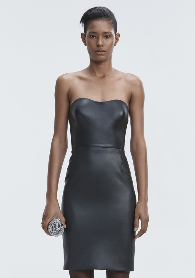 ALEXANDER WANG LEATHER BUSTIER DRESS Vestito lungo Adult 12_n_d