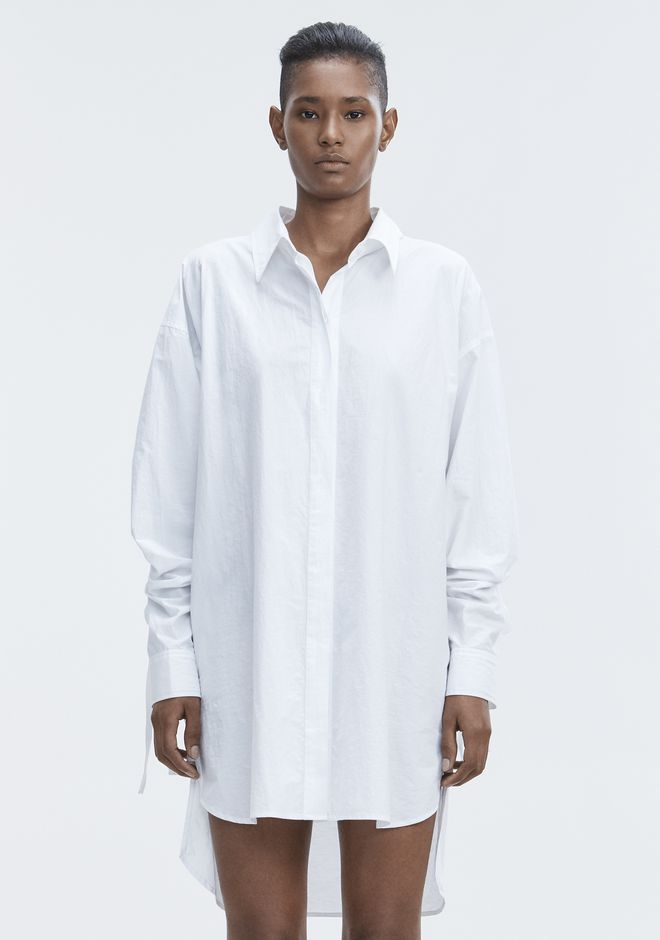 T by ALEXANDER WANG LONG SLEEVE SHIRTDRESS  Short Dress Adult 12_n_d
