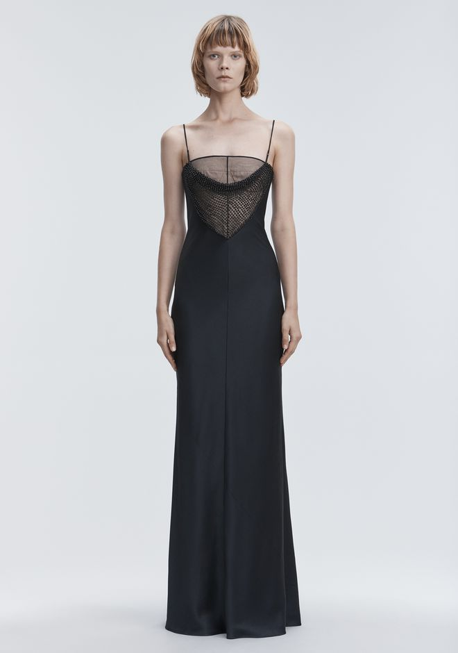 ALEXANDER WANG SATIN BEADED GOWN  Langes Kleid Adult 12_n_a