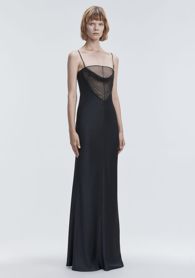 ALEXANDER WANG SATIN BEADED GOWN  Long dress Adult 12_n_d