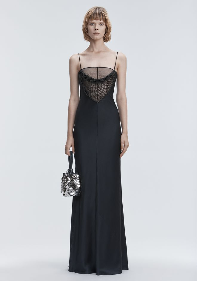 ALEXANDER WANG SATIN BEADED GOWN  Long dress Adult 12_n_f