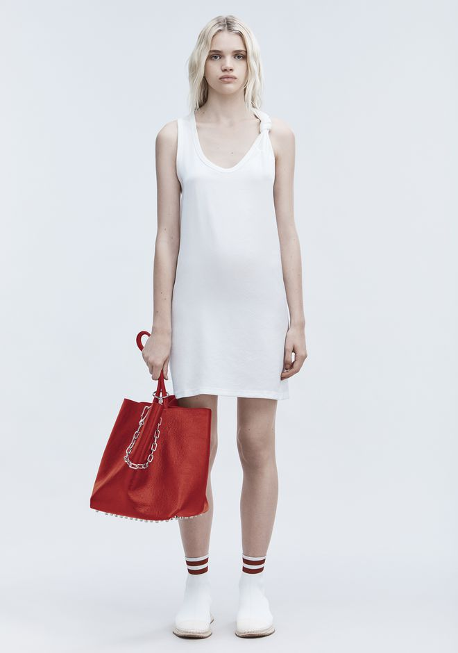 T by ALEXANDER WANG sltbdr DRESS WITH RIB KNOT DTAIL