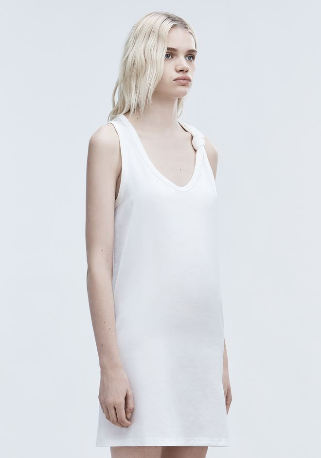T by ALEXANDER WANG DRESS WITH RIB KNOT DTAIL Short Dress Adult 12_n_a