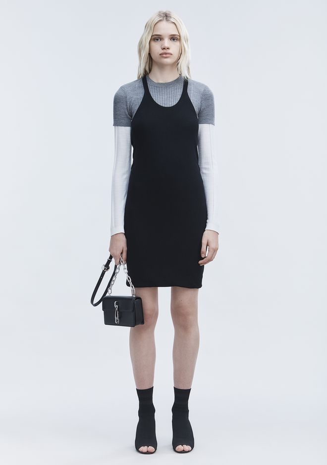 T by ALEXANDER WANG sltbdr DOUBLE LAYER TANK DRESS
