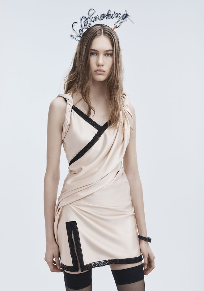 ALEXANDER WANG TWISTED SLIP DRESS 短款连衣裙 Adult 12_n_r