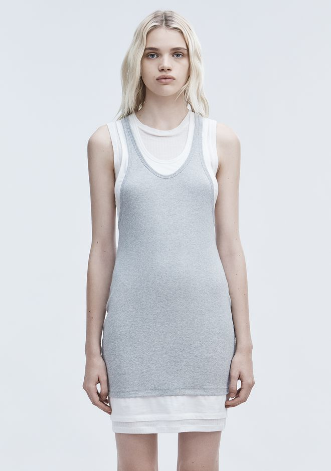 T by ALEXANDER WANG LAYERED TANK DRESS Short Dress Adult 12_n_d