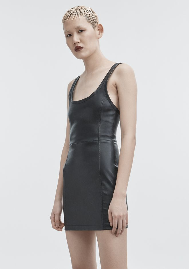 T by ALEXANDER WANG LEATHER MINI DRESS Short Dress Adult 12_n_a