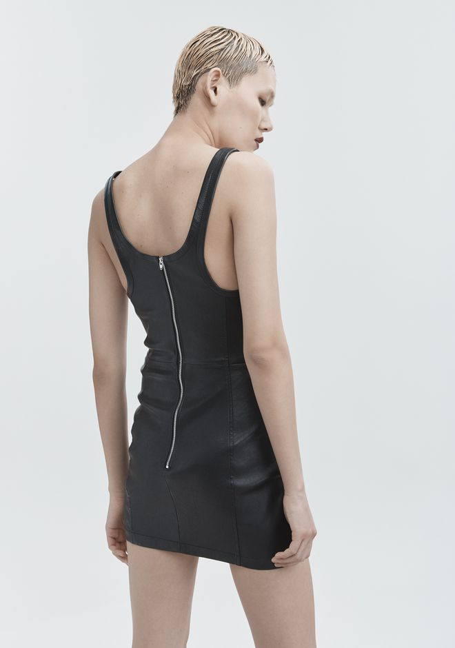 T by ALEXANDER WANG LEATHER MINI DRESS Short Dress Adult 12_n_e