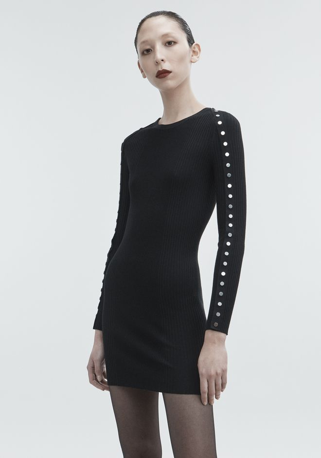 ALEXANDER WANG SNAP MINI DRESS KNIT DRESS Adult 12_n_d