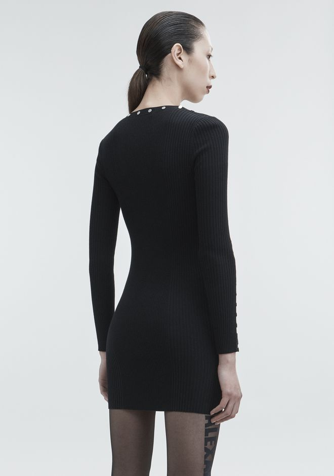 ALEXANDER WANG SNAP MINI DRESS KNIT DRESS Adult 12_n_e