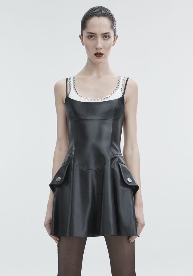 ALEXANDER WANG LEATHER MINI DRESS  Short Dress Adult 12_n_a