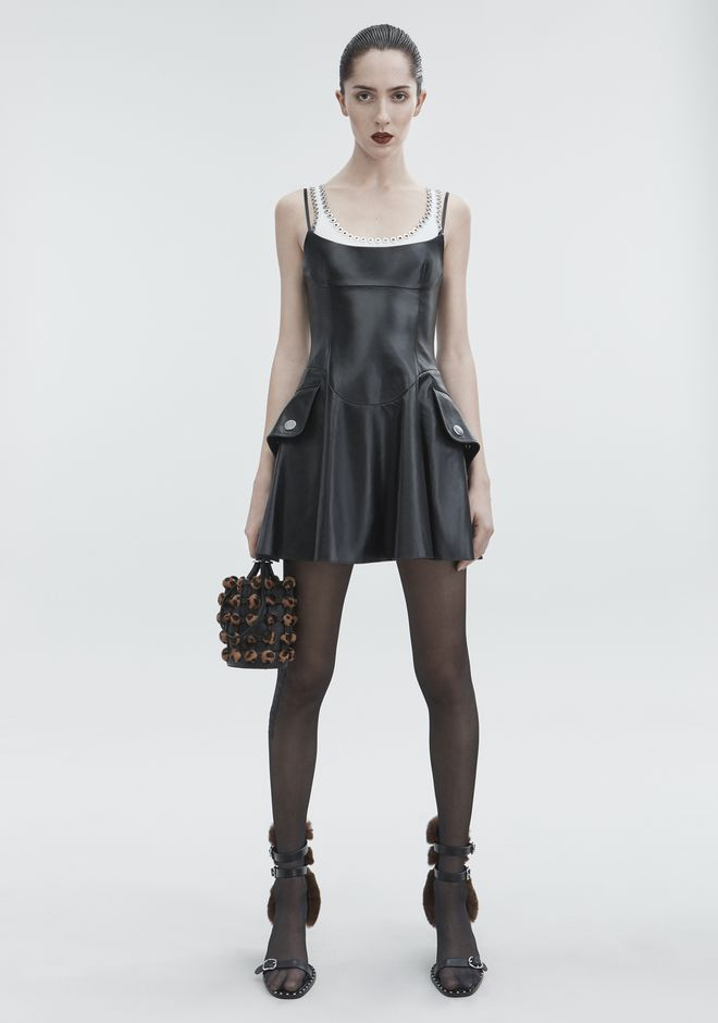 ALEXANDER WANG LEATHER MINI DRESS  Short Dress Adult 12_n_f