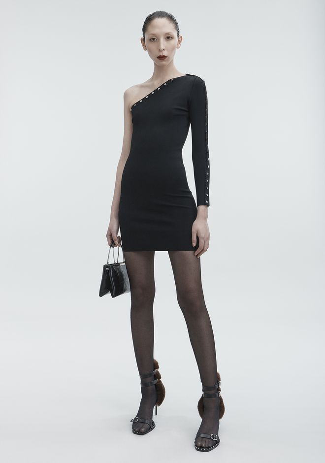 ALEXANDER WANG ASYMMETRICAL SNAP DRESS Short dress Adult 12_n_f