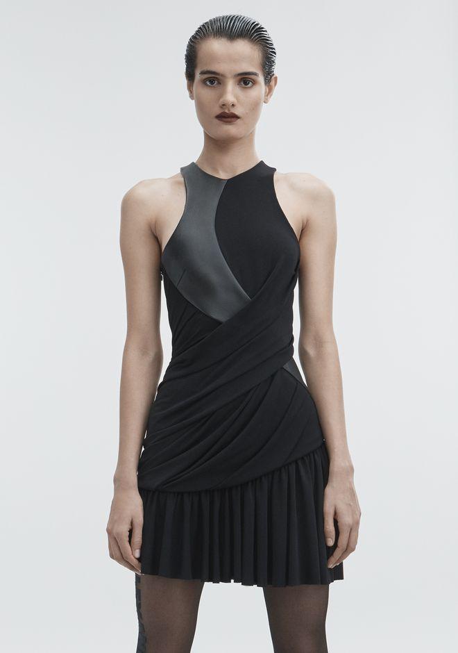ALEXANDER WANG DRAPED COMBO DRESS Short Dress Adult 12_n_a